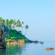 A large boulder in a calm sea and palm trees — Stock Photo #63334391