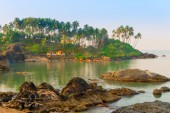 Large boulders in the sea and tall palm trees — 图库照片