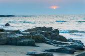 Gloomy landscape seashore at sunset in Goa — Stock Photo