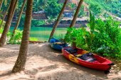 Two canoes in the shade of tropical palm trees on the beach — Stock Photo