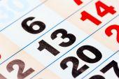 13 the number of calendar close-up shot — Stock Photo
