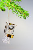 Glass angel hanging on the Christmas tree — Stock Photo