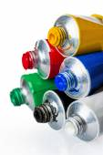 Six tubes with colorful paints on a white background — Foto de Stock
