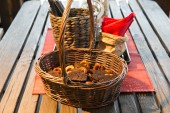 Basket with bread and drying on the kitchen table — Stock Photo