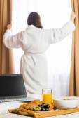 Room service breakfast on a tray in the hotel — Stock Photo