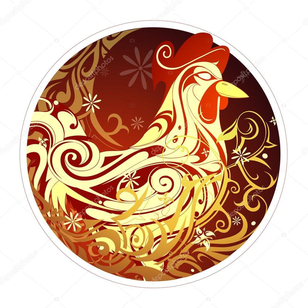 chinesisches neujahr 2017 hahn horoskop symbol stockvektor akv lv 100421670. Black Bedroom Furniture Sets. Home Design Ideas