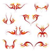 Tribal flame tattoo set — Stock Vector