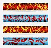 Decorative banners with floral elements — Stockvektor