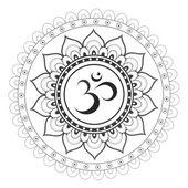 Sanskrit sacred symbol Om with ethnic ornament — Stock Vector
