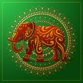 Elephant with orient ornament — Stock Vector