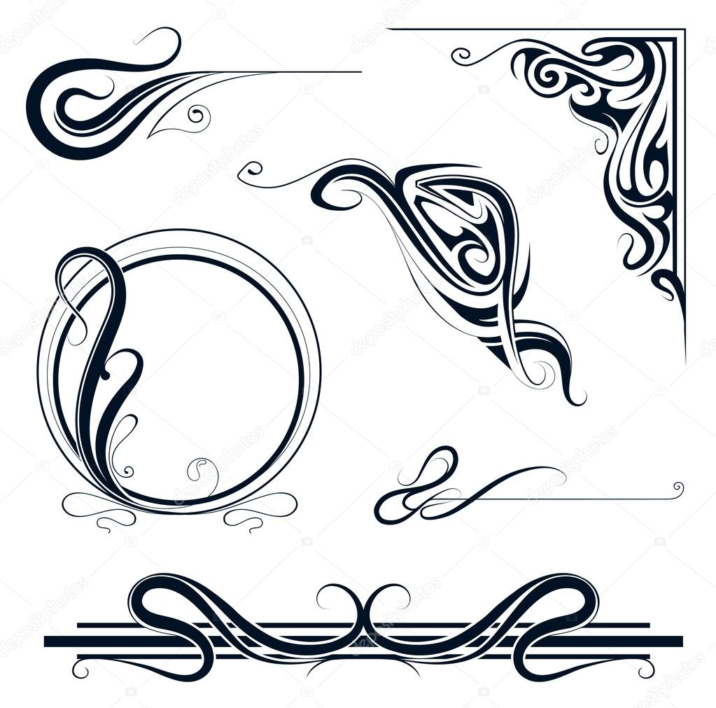 Art nouveau ornamento conjunto vector de stock 65245631 for Ornamente jugendstil