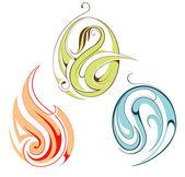 Ensemble des emblèmes pour le feu, l'eau et plante — Vecteur