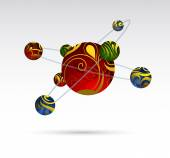 Atom cartoon — Stock Vector