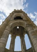 Tower of Abbey in Charroux — Stock Photo