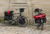 Two bicycles with lugage — Stock Photo