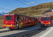 Red Trains of Jungfraubahn — Stock Photo