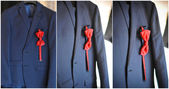 Wedding ultramarine suit and red bow. Formal groom suit with red bow-tie. Elegant blue groom's suit close up with bow tie. — Stock Photo