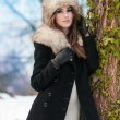 Portrait of young beautiful woman, outdoor shot in winter scenery. Sensual brunette girl with coat and fur cap posing in a park covered with snow. Fashionable female in a cold day. — 图库照片 #54194589