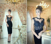 Beautiful brunette lady in elegant black lace dress posing in a vintage scene. Young sensual fashionable woman on high heels in luxury interior. Attractive slim girl near white furniture, indoor shot — Stock Photo