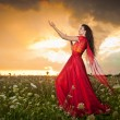 Fashionable beautiful young woman in long red dress posing outdoor with cloudy dramatic sky in background. Attractive long hair brunette girl with elegant luxurious dress, sunset shot. — Stock Photo #56163391