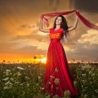 Fashionable beautiful young woman in long red dress posing outdoor with cloudy dramatic sky in background. Attractive long hair brunette girl with elegant luxurious dress, sunset shot. — Stock Photo #56163397