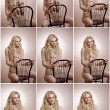 Attractive fair hair model with in elegant nude blouse sitting provocatively on chair, studio shot. Fashion portrait of a sensual blonde woman in classic blouse with long sleeves and ribbon on chair — Stock Photo #56264095
