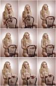 Attractive fair hair model with in elegant nude blouse sitting provocatively on chair, studio shot. Fashion portrait of a sensual blonde woman in classic blouse with long sleeves and ribbon on chair — Stock Photo