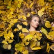 Nice girl covered with autumnal leaves. Young woman laying down on the ground covered by fall foliage in park. Beautiful sexy girl lying on autumn leaves. Young woman covered with golden autumn leaves — Stock Photo #57095987