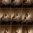 Attractive sexy young woman wrapped in a fur coat sitting in hotel room. Portrait of sensual female daydreaming near a wall. Beautiful girl covered only with fur exposing her shoulders — Stock Photo #58134877
