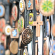 Various necklaces at souvenir market in Romania, close up. Traditional cultural neck-lets — Stock Photo #58666697