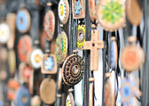 Various necklaces at souvenir market in Romania, close up. Traditional cultural neck-lets — Stock Photo