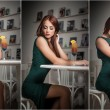 Fashionable attractive young woman in green dress sitting in restaurant. Beautiful redhead posing in elegant scenery with an orange juice glass on the table. Pretty female relaxing, indoor shot. — Stock Photo #59680209