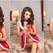 Young sexy Santa holding a gift, boudoir shoot. Attractive brunette with long hair wearing a provocative lingerie Xmas style receiving a red little box as Xmas present. Beautiful young woman in red — Stock Photo #60962607