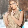 Lovely young lady in elegant dress posing winter scenery, royal look. Fashionable blonde woman with forest in background, outdoor shoot. Glamorous female with long fair hair in nature - princess style — Stock Photo #61278417