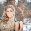 Lovely young lady in elegant dress posing winter scenery, royal look. Fashionable blonde woman with forest in background, outdoor shoot. Glamorous female with long fair hair in nature - princess style — Stock Photo #61278423