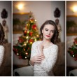 Beautiful sexy woman with Xmas tree in background sitting on elegant chair in cozy scenery. Portrait of girl posing pretty with short tight fit white dress. Attractive brunette female, indoor shot. — Stock Photo #61654387