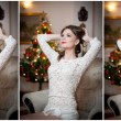 Beautiful sexy woman with Xmas tree in background sitting on elegant chair in cozy scenery. Portrait of girl posing pretty with short tight fit white dress. Attractive brunette female, indoor shot. — Stock Photo #61654389