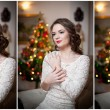 Beautiful sexy woman with Xmas tree in background sitting on elegant chair in cozy scenery. Portrait of girl posing pretty with short tight fit white dress. Attractive brunette female, indoor shot. — Stock Photo #61654393
