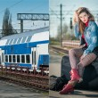Sexy attractive girl with red head boots posing on the platform in railway station. Blonde woman in blue jeans jacket sitting on suitcase waiting for the train. Retro-styled female in railway station — Stock Photo #63742941