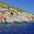 Island in the Ionian Sea, Zakynthos. Azure coast of Greece. View of coast from the sea. — Stock Photo #64444695