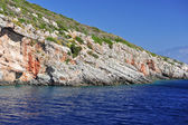 Island in the Ionian Sea, Zakynthos. Azure coast of Greece. View of coast from the sea. — Stock Photo