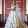 Young beautiful luxurious woman in wedding dress posing in luxurious interior. Gorgeous elegant bride with long veil. Full length portrait of seductive blonde bride with fashionable gown, indoor shot — Stock Photo #64766553