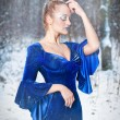 Lovely young lady in elegant blue dress posing in winter scenery, royal look. Fashionable blonde woman with forest in background, outdoor shot. Glamorous fair hair female in nature - princess style — Stock Photo #65914647