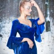 Lovely young lady in elegant blue dress posing in winter scenery, royal look. Fashionable blonde woman with forest in background, outdoor shot. Glamorous fair hair female in nature - princess style — Stock Photo #65914915
