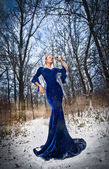 Lovely young lady in elegant blue dress posing in winter scenery, royal look. Fashionable blonde woman with forest in background, outdoor shot. Glamorous fair hair female in nature - princess style — Stock Photo