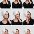 Hairstyle and make up - beautiful young girl art portrait. Cute brunette with white cap and veil, studio shot. Attractive female with beautiful lips and eyes in black blouse, over white — Stock Photo #66283661