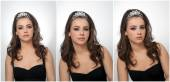 Hairstyle and make up - beautiful female art portrait with beautiful eyes. Genuine natural brunette with jewelry, studio shot. Portrait of a attractive woman with tiara and creative make up — Stock Photo