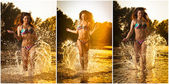 Sexy brunette woman in swimsuit running in river water. Sexy young woman playing with water during sunset. Beautiful woman wearing bikini enjoying the water  in the evening, frontal view — Stock Photo