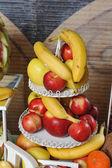 Carved fruits arrangement. Fresh various fruits. Assortment of exotic fruits. Fresh fruits decoration — Stock Photo