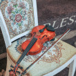 Classic music violin vintage close up. Violin on chair — Stock Photo #73219247